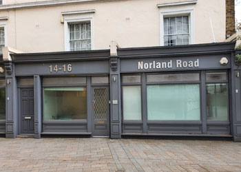 Self-contained Class E Business Unit to Let, Suit various uses: office, medical, showroom, 876 sq ft (81.41 sq m), 14-16 Norland Road, Holland Park, London W11 | JMW Barnard Commercial Property Agents'; ?>